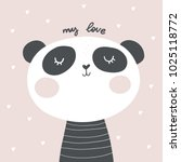 panda vector print. love panda. ... | Shutterstock .eps vector #1025118772
