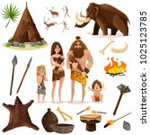 cavemen decorative icons set... | Shutterstock .eps vector #1025123785