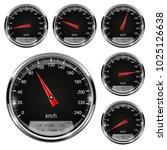 speedometers. black gauges with ... | Shutterstock .eps vector #1025126638