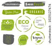 healthy food icons  labels.... | Shutterstock .eps vector #1025127676
