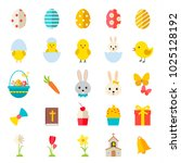 easter icons set with rabbits ... | Shutterstock .eps vector #1025128192
