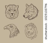 collection of animal vectors... | Shutterstock .eps vector #1025133796