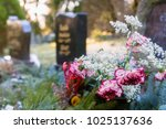 Small photo of Colorful Flowers in front of a Tombstones in a Cemetery Graveyard