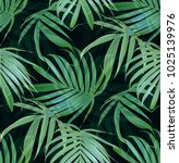 tropical palm leaves seamless... | Shutterstock . vector #1025139976