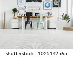 low angle of white home office... | Shutterstock . vector #1025142565