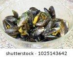 mussels dinner homemade with... | Shutterstock . vector #1025143642