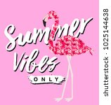 flamingo graphic with slogan | Shutterstock . vector #1025144638