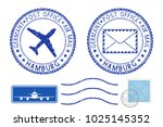 postmarks hamburg and stamps.... | Shutterstock . vector #1025145352