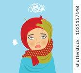 hijab girl moody vector...   Shutterstock .eps vector #1025157148