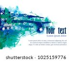 abstract template with blue... | Shutterstock .eps vector #1025159776