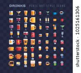 drinks and beverages pixel art... | Shutterstock .eps vector #1025161306