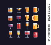 alcohol drinks glass icons set. ... | Shutterstock .eps vector #1025161312