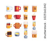 mug of tea whith teapot and... | Shutterstock .eps vector #1025161342