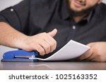 a close up shot of a stapler ... | Shutterstock . vector #1025163352
