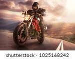 the biker in action or movement ... | Shutterstock . vector #1025168242