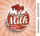 logo  label of fresh chocolate...   Shutterstock .eps vector #1025168752