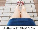 selfie of sneakers. woman... | Shutterstock . vector #1025170786