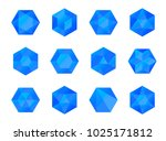 set of colorful blue isometric... | Shutterstock .eps vector #1025171812