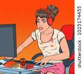 pop art tired young woman... | Shutterstock .eps vector #1025174455