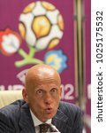 Small photo of Head of the UEFA and FIFA Judges Committee Pierluigi Collina at a press conference in Kiev, Ukraine on July 5, 2010