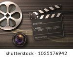 film reel  lens and movie... | Shutterstock . vector #1025176942