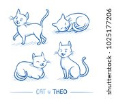 cute cartoon male cat with... | Shutterstock .eps vector #1025177206