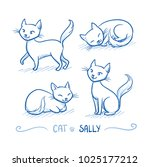 cute cartoon female cat with... | Shutterstock .eps vector #1025177212