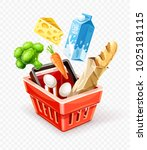 shopping basket. organic food... | Shutterstock .eps vector #1025181115