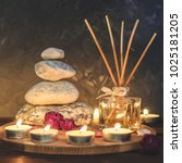 spa composition stones  candles ... | Shutterstock . vector #1025181205