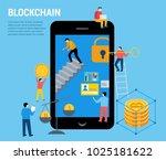 blockchain scene with... | Shutterstock .eps vector #1025181622