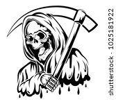 black and white death | Shutterstock .eps vector #1025181922