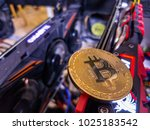 bitcoin with coins on computer... | Shutterstock . vector #1025183542
