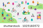 Summer outdoor scene with active family vacation, park activities illustration with kids, couples, families, relexing on nature, walk with dog, ride bicycles | Shutterstock vector #1025183572