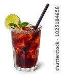 glass of cuba libre or long...   Shutterstock . vector #1025184658