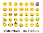 set of emotions  faces with... | Shutterstock .eps vector #1025185672