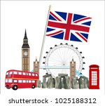 set of icon and landmark of... | Shutterstock .eps vector #1025188312