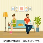 man  woman and cat sitting on... | Shutterstock .eps vector #1025190796