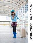 asian woman travel use... | Shutterstock . vector #1025196652
