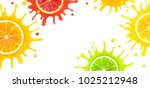 banner with citrus fruits and... | Shutterstock . vector #1025212948
