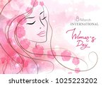 beautiful woman with flowers.... | Shutterstock .eps vector #1025223202