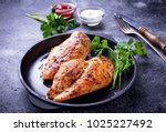 grilled chicken breast or... | Shutterstock . vector #1025227492