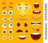 cartoon yellow 3d smiley face... | Shutterstock .eps vector #1025228386