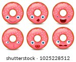 set of donut emoji isolated on... | Shutterstock .eps vector #1025228512