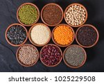 mix of cereals and beans in... | Shutterstock . vector #1025229508