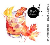 watercolor maple bacon cocktail ... | Shutterstock . vector #1025233918