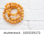 amber beads necklace | Shutterstock . vector #1025235172