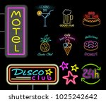 motel and disco club neon signs ... | Shutterstock .eps vector #1025242642