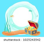 photo frame with gold coins in... | Shutterstock .eps vector #1025243542