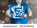 doctor offers compliant... | Shutterstock . vector #1025248942