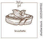 bruschetta snack sketch vector... | Shutterstock .eps vector #1025249932